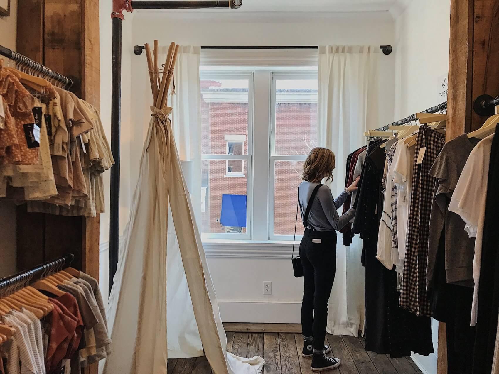 Women Browsing Clothing Store
