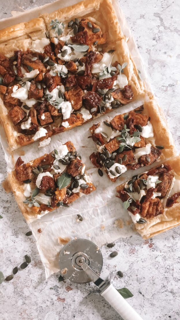 Spiced sweet potato and goats cheese tart