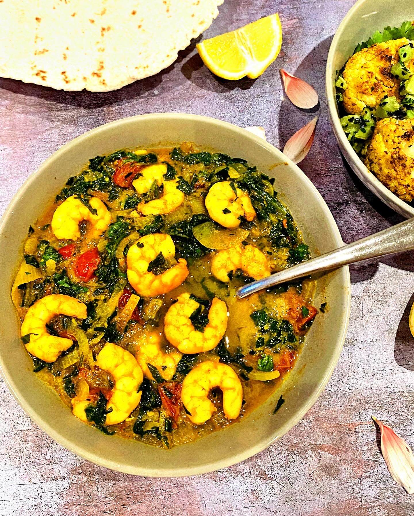 Prawn and spinach curry with roasted cauliflower